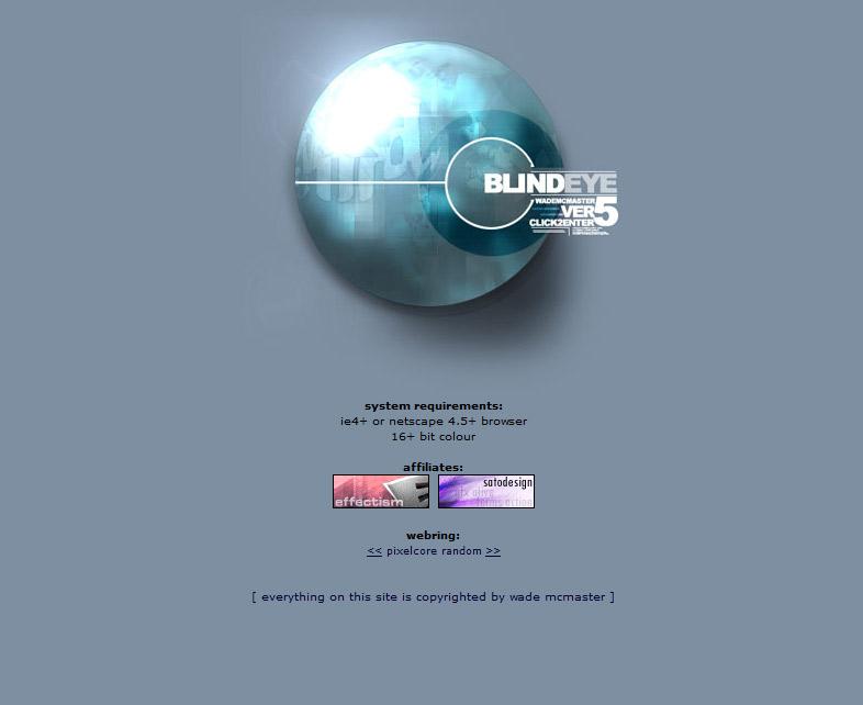 Blind Eye Version 5 Splash Page