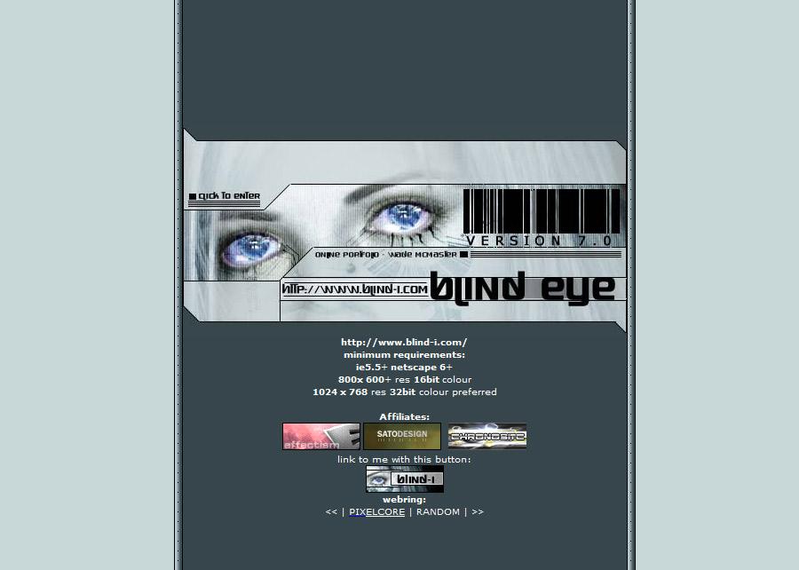 Blind Eye Version 7 Splash Page