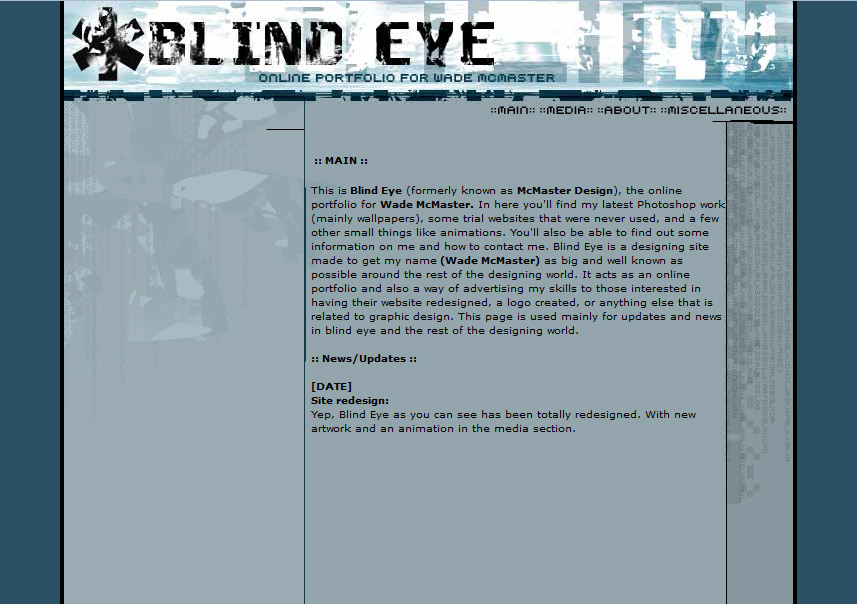 Blind Eye - My first website at the age of 15!
