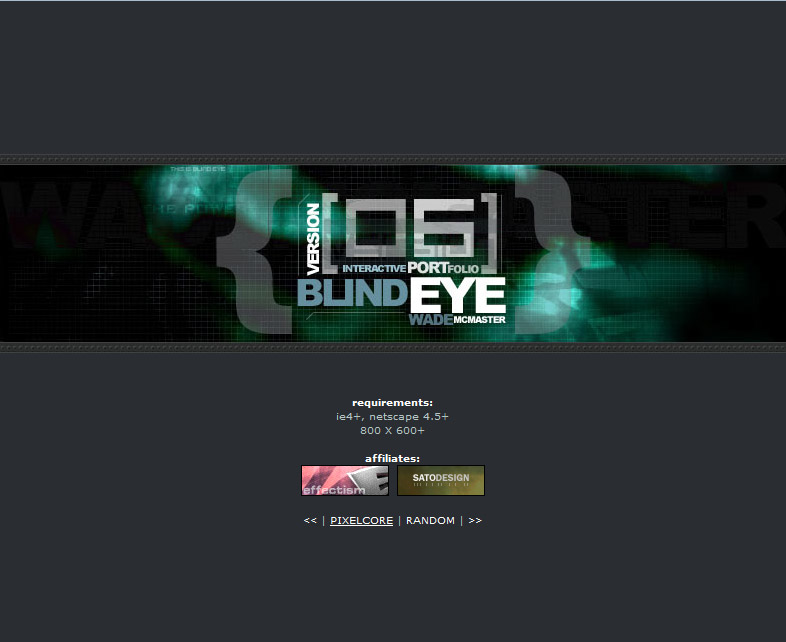 Blind Eye Version 6 Splash Page
