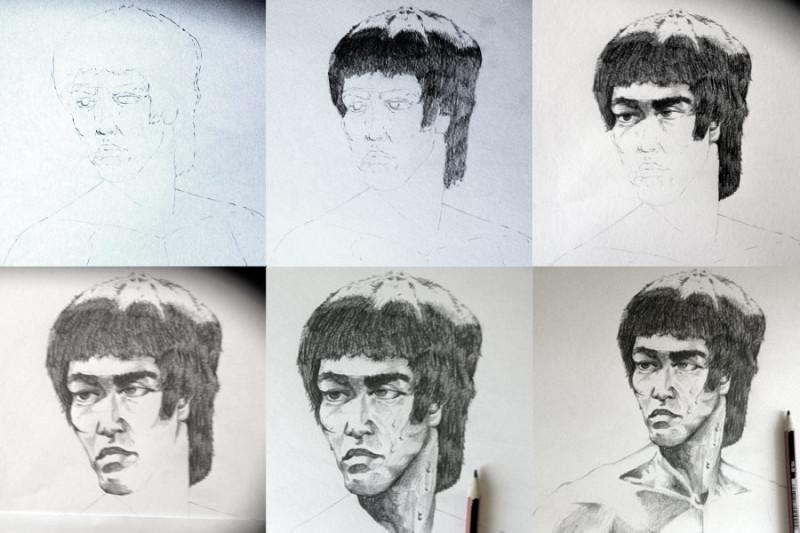 progress of Bruce Lee Sketcha