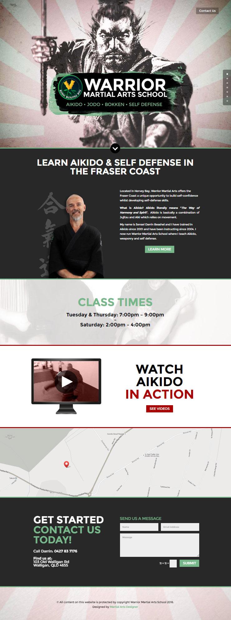 warrior martial arts web design